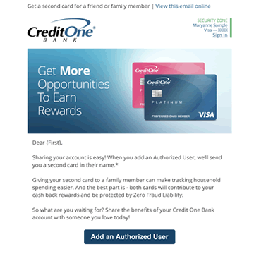 Credit One Bank - Authorized User Email Campaign